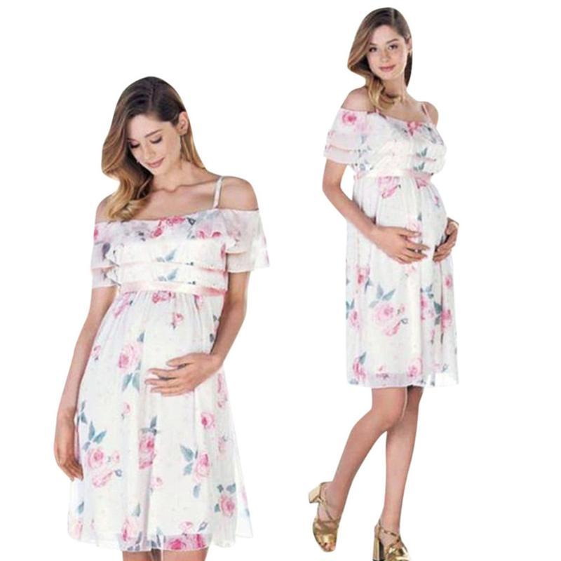 LONSANT Maternity dresses Women flowers print Off Shoulder Dress Mother Pregnant clothing lady Chiffon Maternity dress Drop Ship