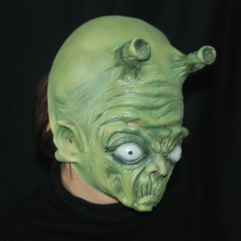 Scary Latex Green Witch Maske Doppelwinkel Alien volles Gesichts-Cosplay Halloween-Maske Partei Props Kostüm SH190922