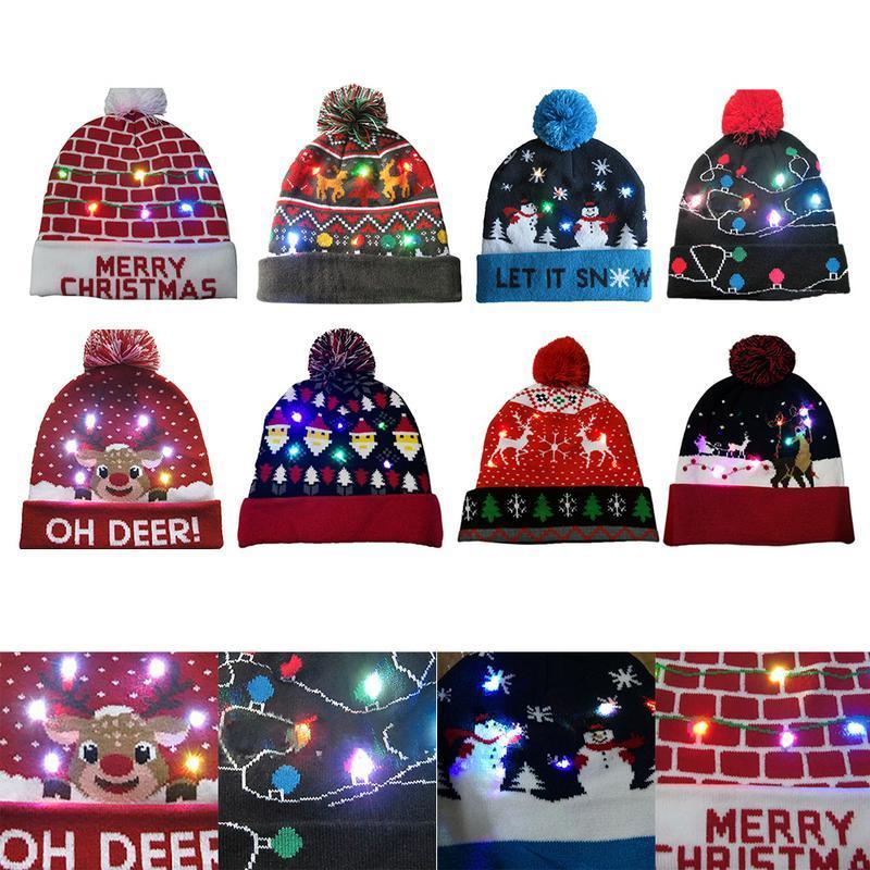 LED de Noël Bonnet laid arbre Pull Noël Bonnet Light Up Bonnet en maille pour les enfants Fête des adultes
