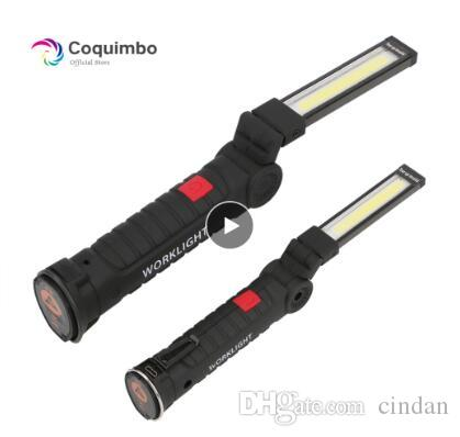 자석 휴대용 손전등 야외 캠핑 작업 토치와 배터리 LED 라이트 내장 한 * COB LED 램프 USB 충전식