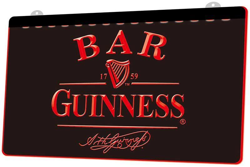 LS0733 0 Bar Guinness Bira RGB Çoklu Renk Uzaktan Kumanda 3D Gravür LED Neon Işık Dükkanı Bar Pub Club Sign