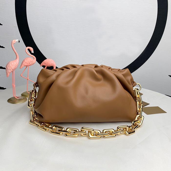 2020 kadın gerçek deri çanta bulut çanta yumuşak buruşuk günberi Omuz Çantası büyük zincir çanta tasarımcısı kadın moda çanta
