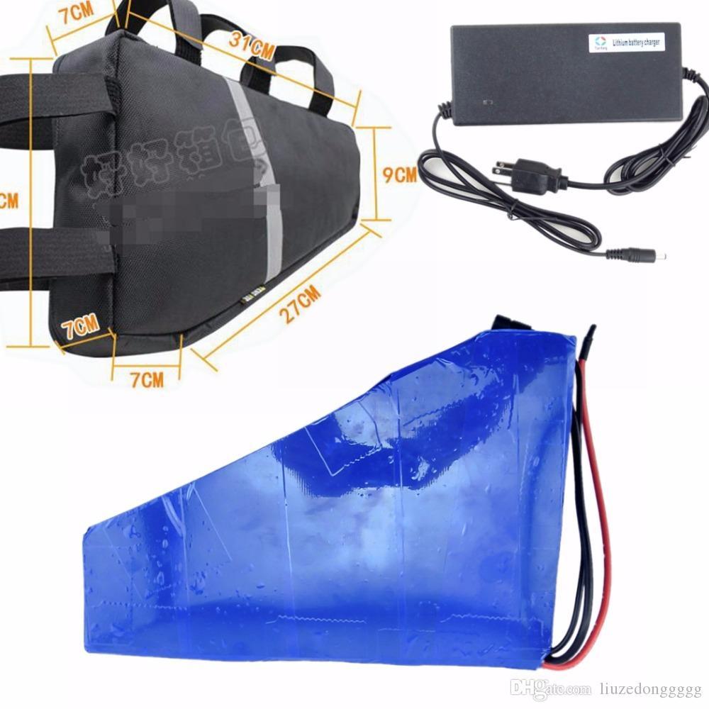 42V 2A Şarj ve üçgen pil çantası ile Üçgen pil 36V 20Ah Li iyon pil
