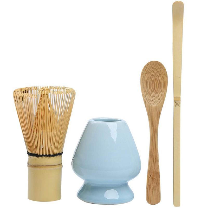 4 dahil 100 çatal Matcha Whisk (Chasen) ait Matcha Çırpma Seti Bambu Matcha Çay Seti, Geleneksel Scoop (Chashaku), Çay Kaşık,
