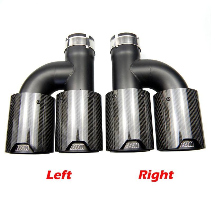Dual Glossy Real Carbon Fiber Black Stainless Steel Universal M Performance Tips