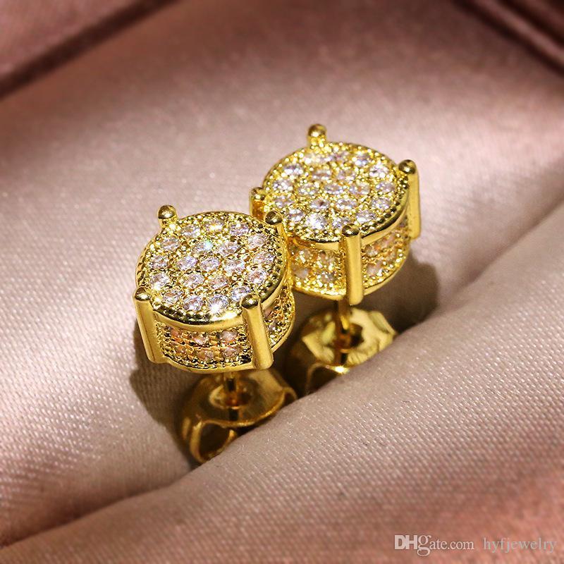 Hip Hop Männer Frauen 925 Sterling Silber Ohrstecker Weiß Zirkon ROCE Ohrringe 18 Karat vergoldet Schmuck Großhandel