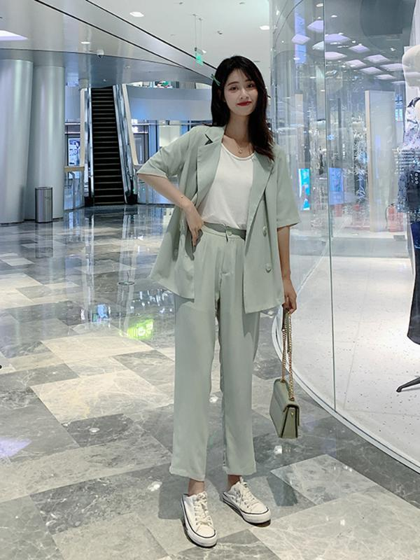 Костюм женский костюм 2020 лета новая небольшой стиль аромата профессиональная корейская версия внешних случайной мода из двух частей