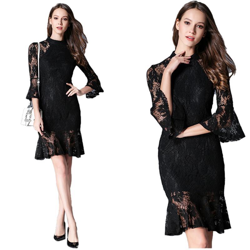 فستان 2020 لربيع وصيف جديد الكورية سليم كان رقيقة متوهج الأكمام هوب ذيل السمكة مزاج أزياء فستان الدانتيل المرأة XX6