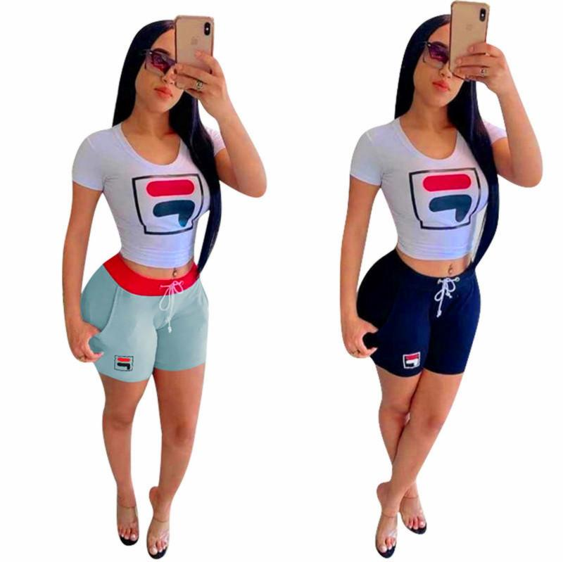 Las mujeres forman FF Carta chándal defiende Camiseta estampada de Trajes de manga corta camiseta de las tapas + pantalones cortos de 2 pedazos de verano Traje Vestimenta INS