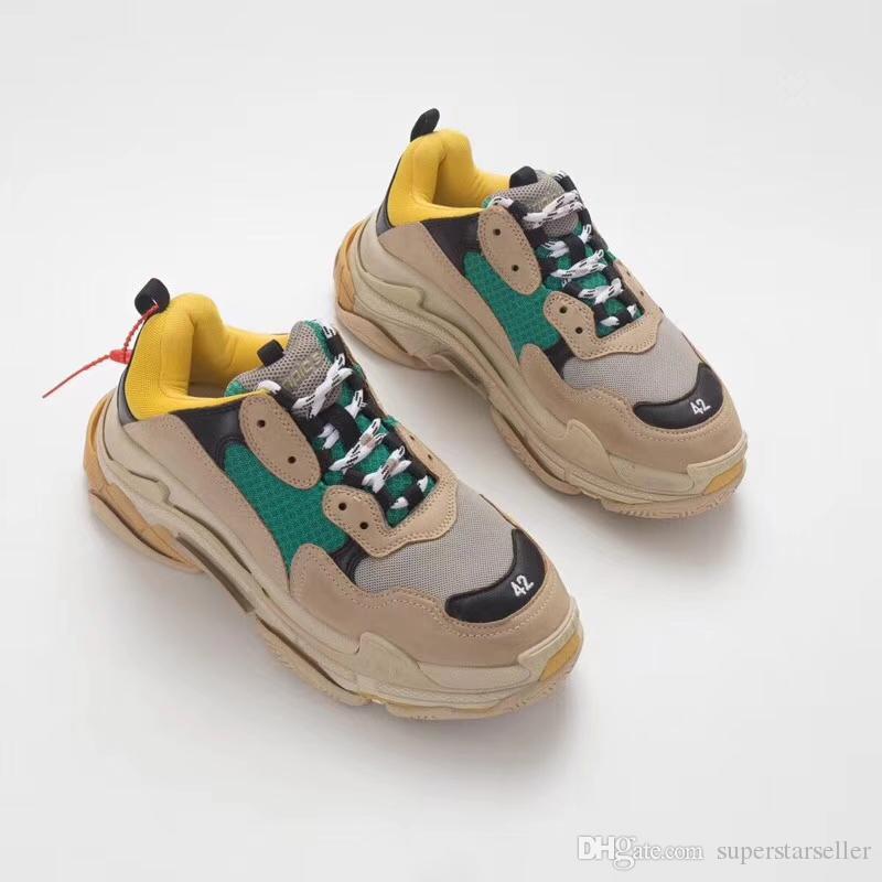 17FW Triple S Turnschuhe Paris Triple-S Casual Dad Mens Designer-Schuhe für Frauen Designer-Turnschuhe Sport Fashion Trainer Chaussures Größe 11