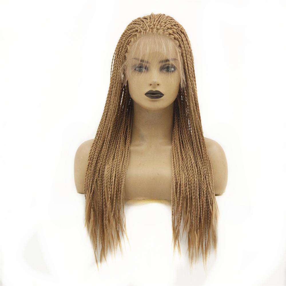 Twist Braids Synthetic Lace Front Wig For Black Women Brown Color Heat Resistant Fiber Replacement Wigs With Baby Hair 18inch