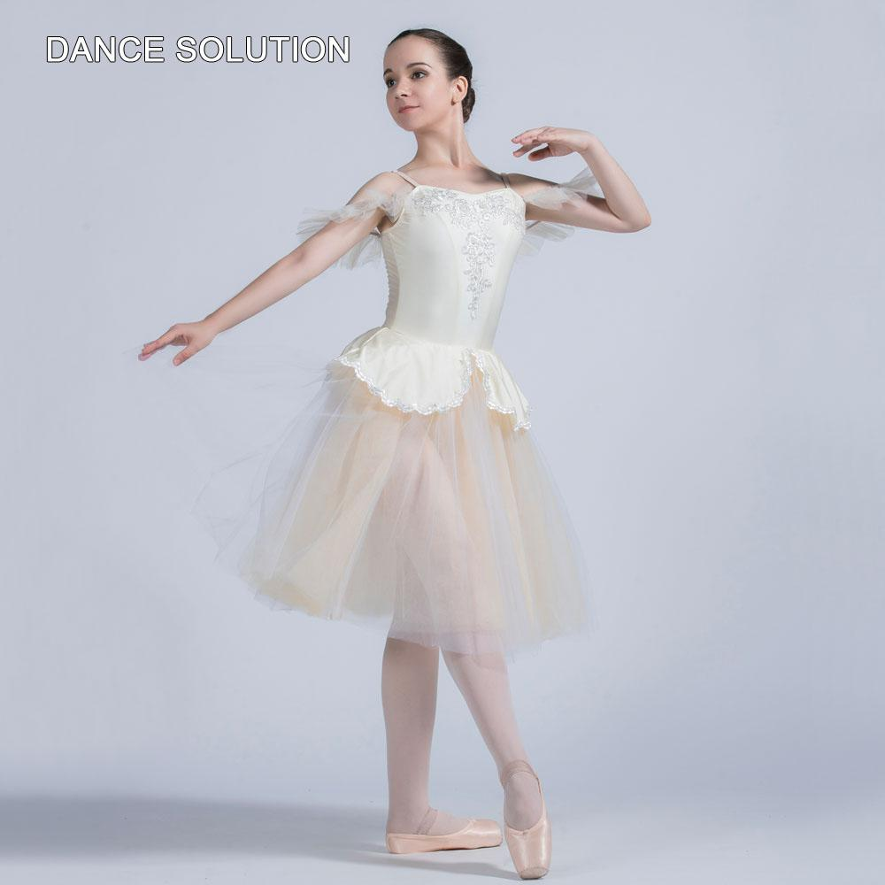 Stage Wear Ivory Spandex Camisole With Tulle Skirt Sleeveless Ballet Costume For Women & Girl Ballerina Princess Dancing Dress 20006