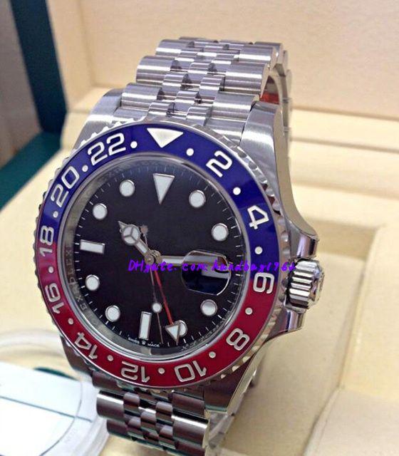 도매 원래 상자 인증서 남성 시계 126710 BLACK DIAL BLUE / RED 세라믹 베젤 아시아 2813 자동식