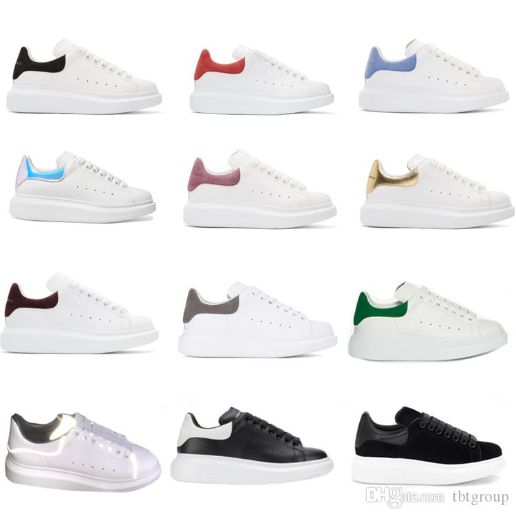 Delle donne degli uomini formatori riflettente 3M pelle bianca piattaforma Sneakers Mens Womens piano casuale scarpe da festa di matrimonio Suede Sport Sneakers