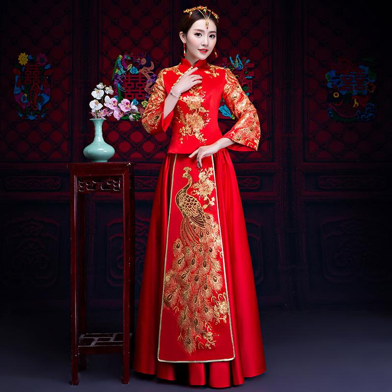 Red Bride Fall Clothes Vintage Chinese Style Wedding Dress Retro Toast Clothing Embroidery Peacock Gown Marriage Cheongsam Qipao