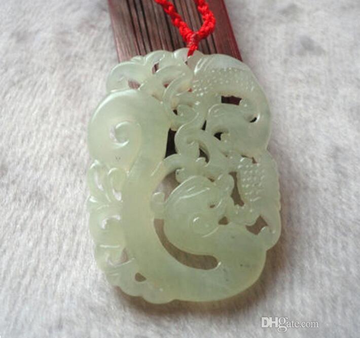Jade blanco natural dragón y fénix borde regenerativo colgante de jade hueco colgante al por mayor directo de fábrica de jade