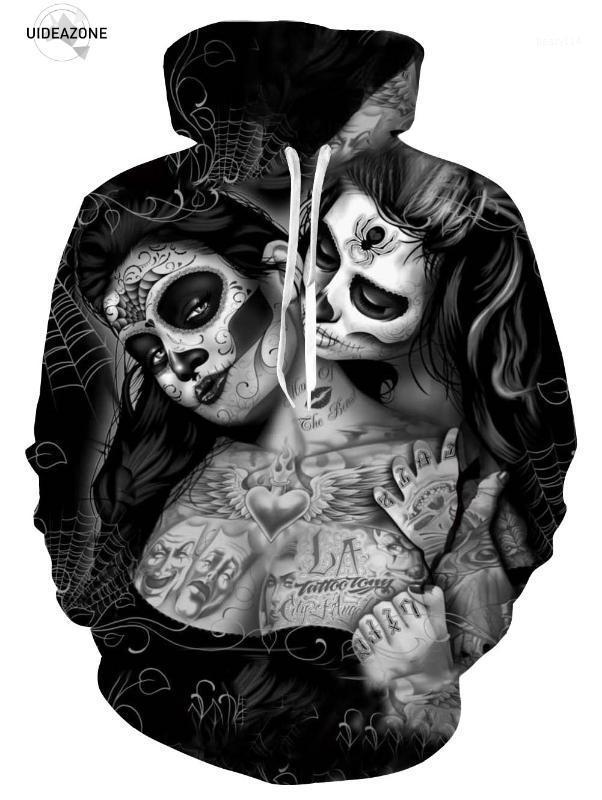 تصميم جديد مثير الوشوم جمجمة Hoodies الرجال 3d بلوزات مطبوعة ملابس رياضية ملابس داخلية مقنعة أزياء Overar1