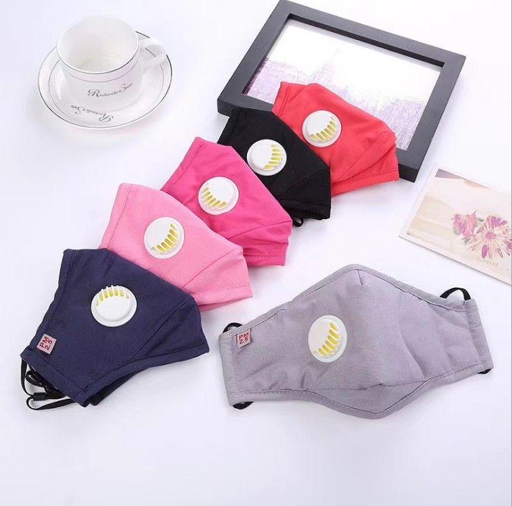 Filhos adultos máscaras de algodão com a respiração Válvula cor sólida PM2.5 Boca Máscara anti-poeira Tecido Máscara de algodão de ar quente Máscaras lavável com Filtro