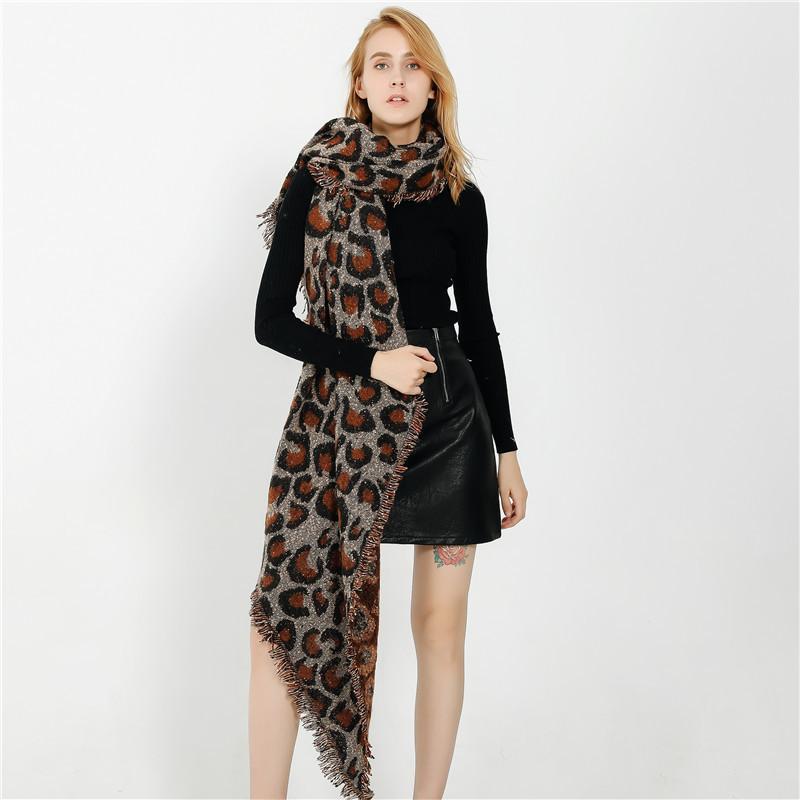 2019 Горячие европейский и американский стиль дикого леопарда шаблон пряжи петля шарф платок женский