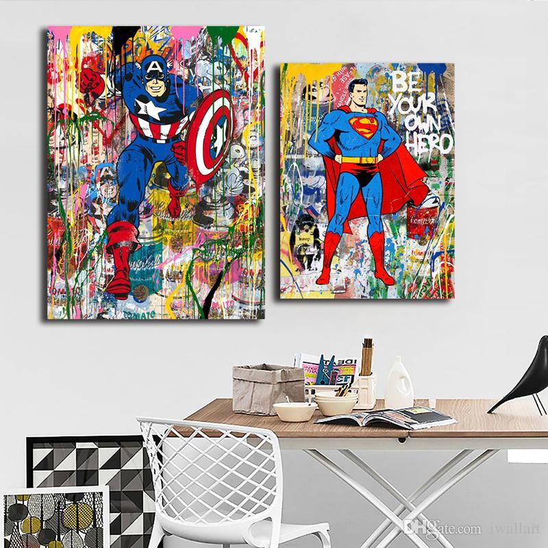 Mr Brainwash Superman Batman Graffit Portrait Canvas Painting HD Wall Picture Poster And Print Decorative Home Decor