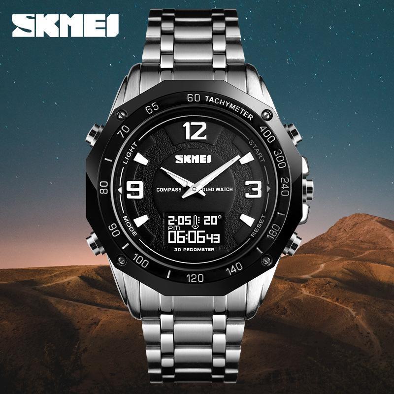 Hermoso Más Función Acero Traer Reloj de pulsera impermeable Hombre Asuntos comerciales Doble pantalla Temperatura Brújula Movimiento Reloj electrónico