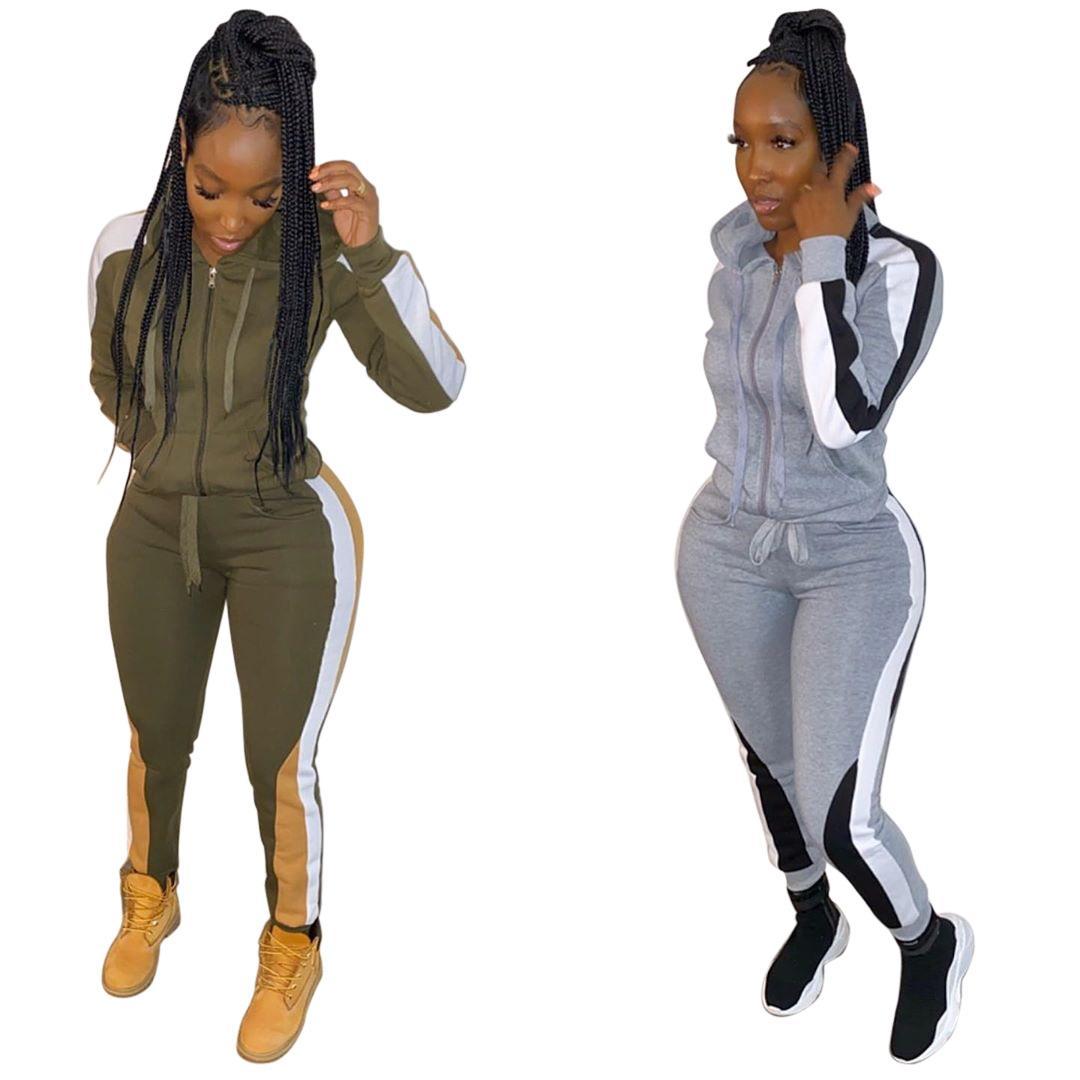 Le donne vestito di sport insieme delle 2 parti con cappuccio a maniche lunghe Equipaggiata cappotti e Strisce laterale pantaloni casuali Autunno Army Green Outfit
