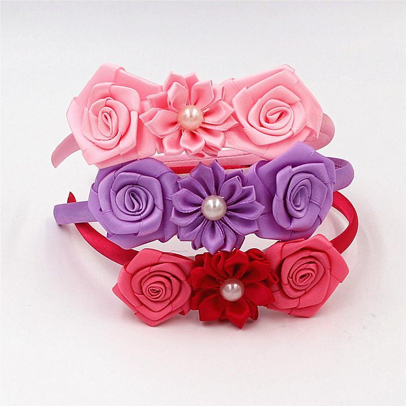 Cute Solid Color Pearl flower Hairbands Hair hoop Kids popular rose Headband Princess Headwear Head hoop Girls Hair Accessories