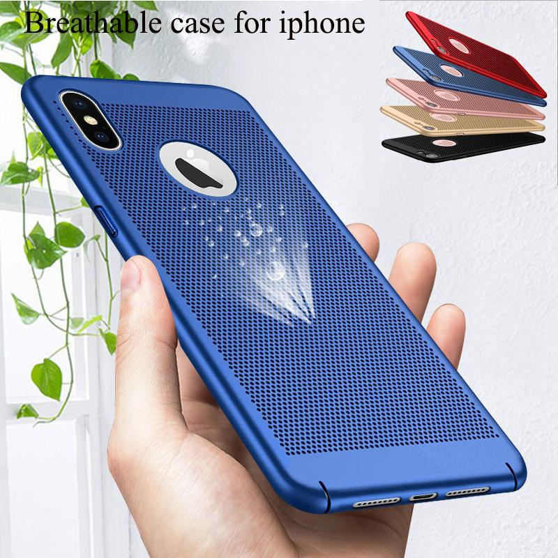 Ultra-thin Breathable Cooling Case For iPhone 11 Pro Max 7 8 6 6S Plus XS MAX X XR SE 2020 Heat Dissipation Hard PC Protective Cover