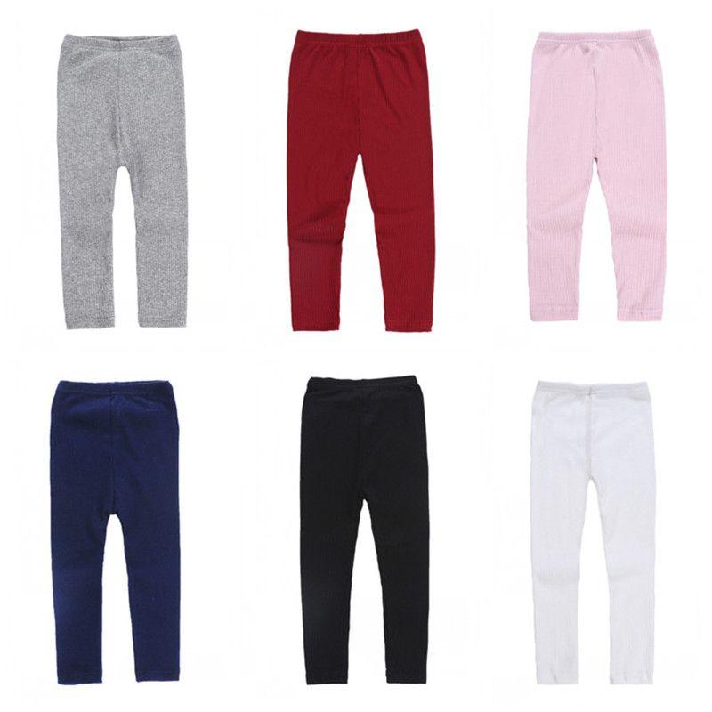 Kids Pants Girls Leggings Tights Candy Colors Mid Waist Long Trousers Skinny Pants Children 6 Colors 90cm-130cm Kids Clothing Q427