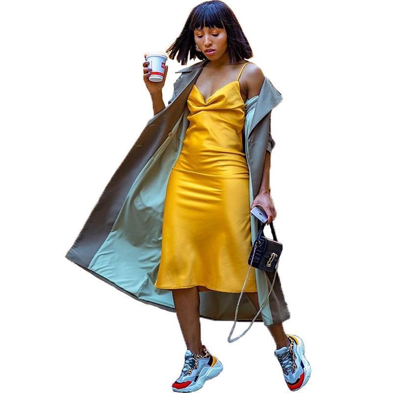 Streetwear новый задние лоскутные мод леди длинные траншеи отложной воротник полный рукав высокой улица случайная мода линия пальто