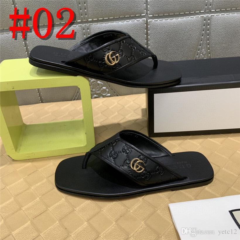 20FW deslizadores planos de los zapatos de la pista de metal sandalias de los hombres de cuero amarillo verano 2019 de deslizamiento diseñador ocasional en portaobjetos de playa flip flop de color marrón con19