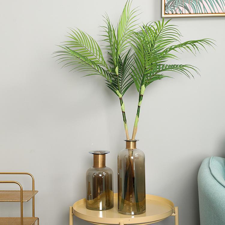 النباتات الاستوائية المحاكاة ، أوراق النخيل ، أوراق نبات النخيل ، محاكاة أوراق النباتات ، أوراق جوز الهند ، سطح المكتب ، زهرة ، Arrangemen
