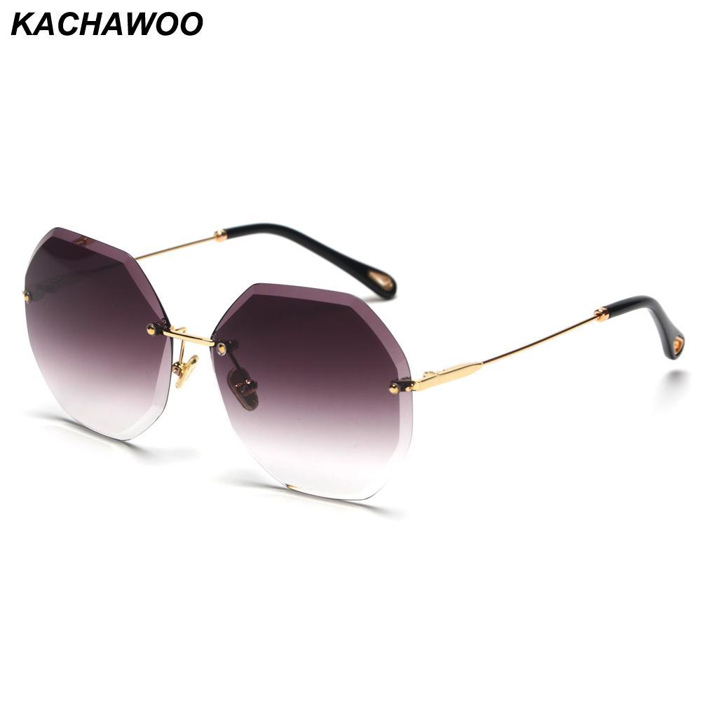 Para por atacado mulheres poligonais moda sem óculos de sol Octagon Quality Quadro Mulheres Óculos High Sun Aaccessórios Rimless RDMMR