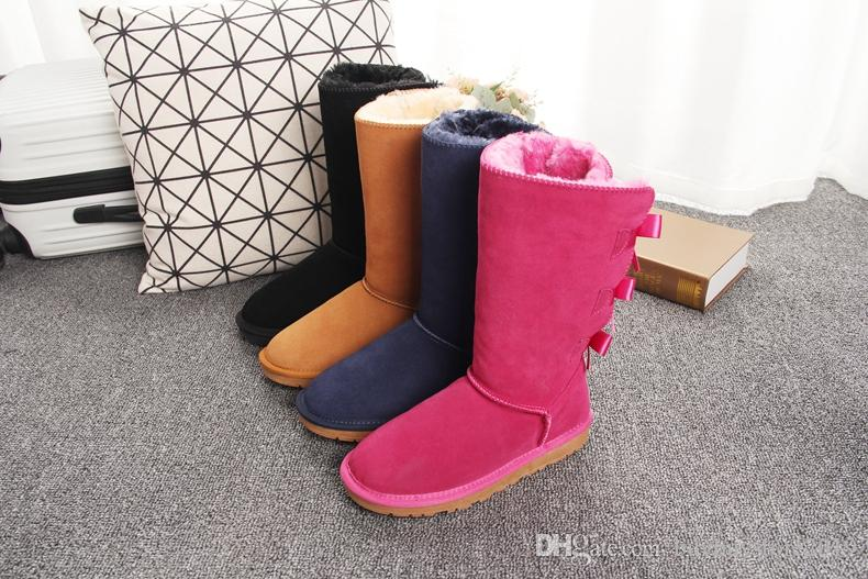 Classic Tall 3 bowtie winter boots real leather Australia Bowknot women's bow snow boots shoes boot US5-10 for christmas gift T7308