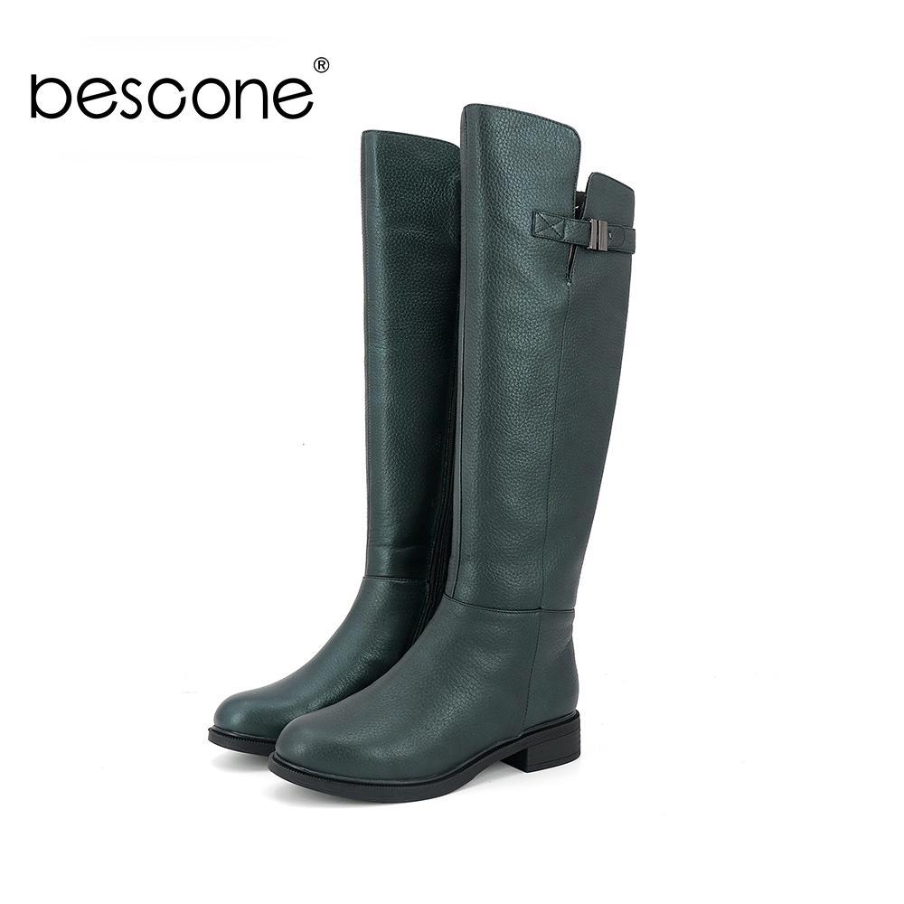 BESCONE Arbeiten Sie echtes Leder-Frauen-Stiefel beiläufige runde Zehe-Platz Heel-Schuhe Grund Solide Zipper 3 cm niedrige Ferse Damen Stiefel BS3
