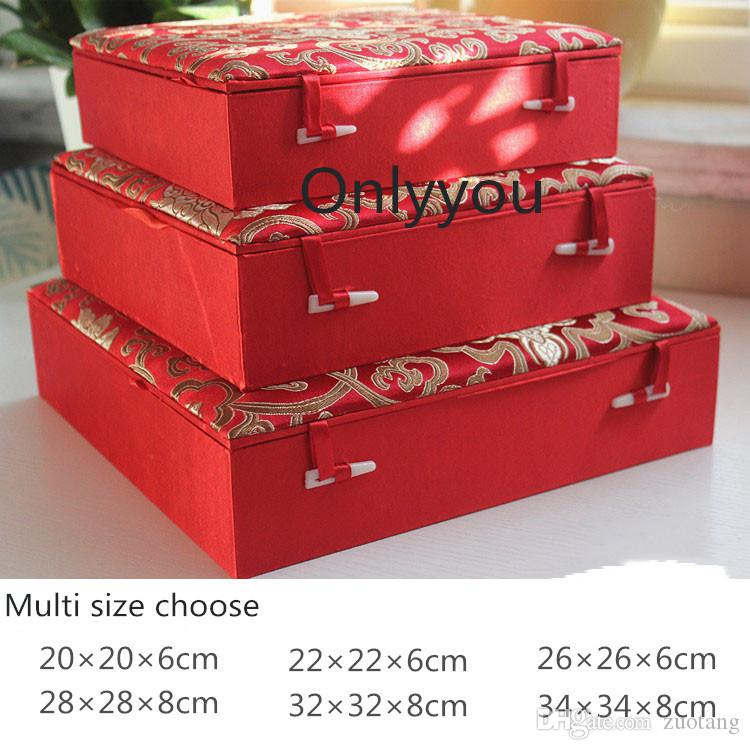 Luxury Red Vintage Large Square Wooden Box China Plate Dish Box Silk Fabric Jewelry Storage Case Crafts Decorative Gift Packaging Box