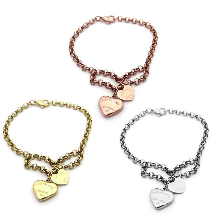 Nova moda titanium aço t letter duplo amor coração pulseira 18 k banhado a ouro mulheres encantos pulseiras pulseiras jóias