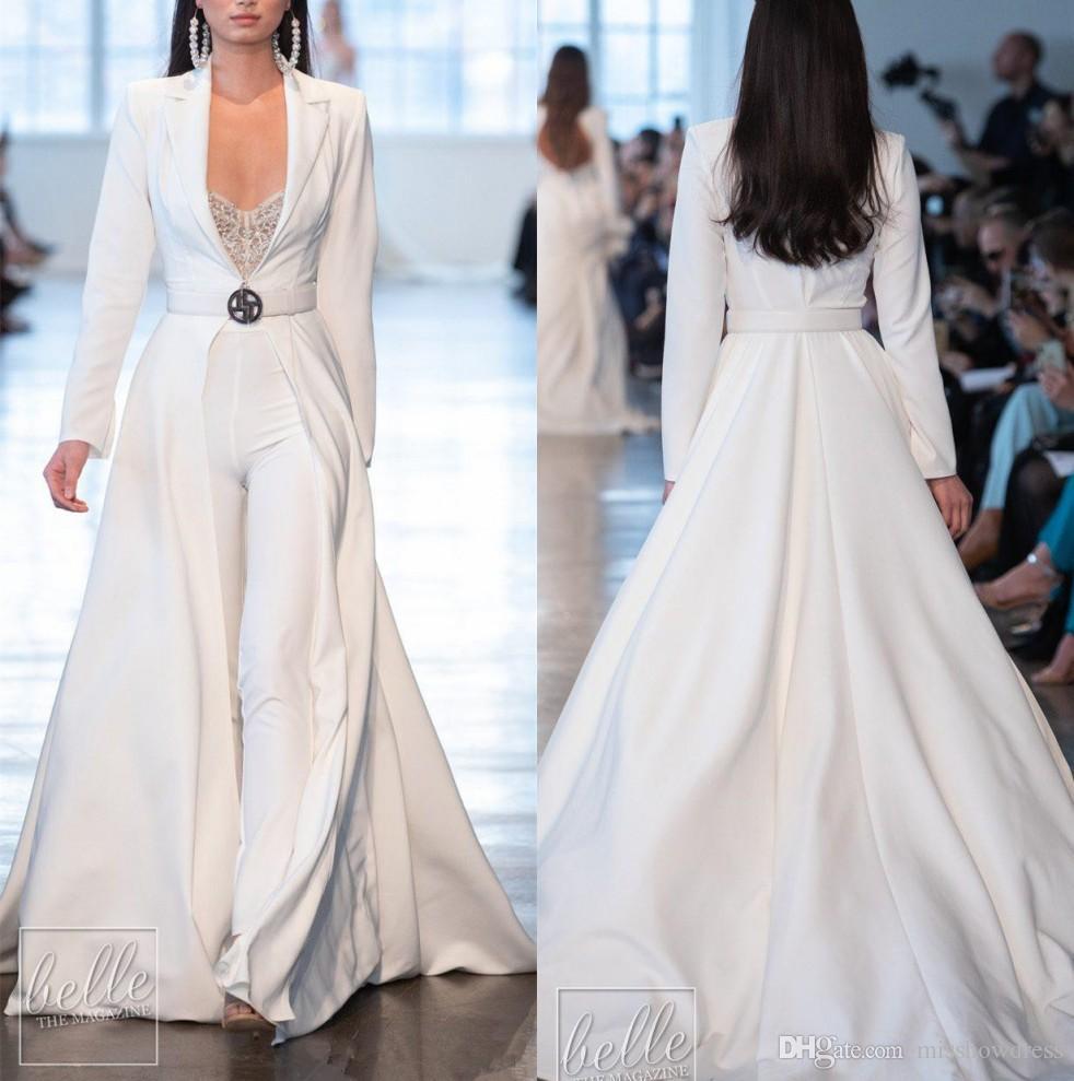 Berta 2020 raso Vestiti da sera bianchi delle tute a maniche lunghe con giacche lunghe promenade più il vesti Dimensione de soirée vestiti di pantaloni di vestito dal partito