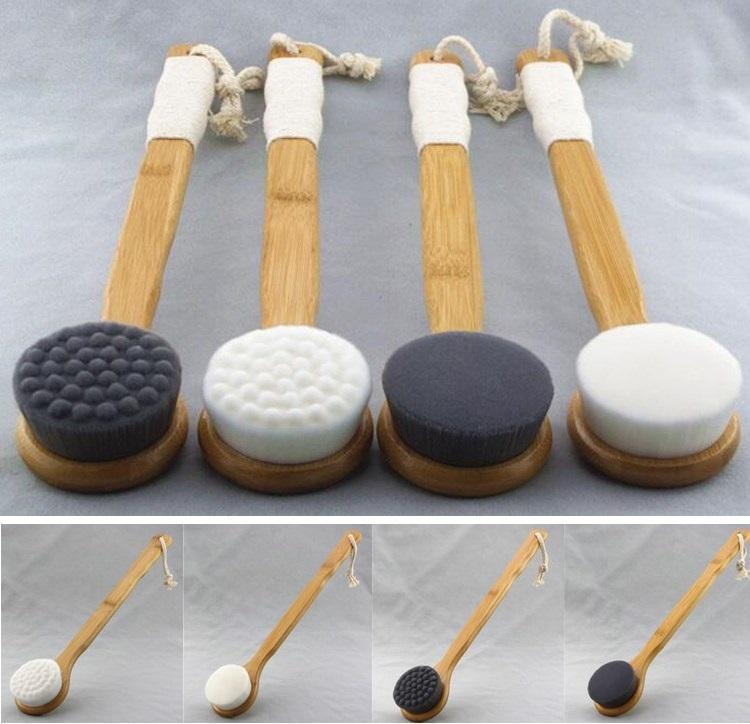 Длинная ручка щетка для ванны душ тела обратно очистки скруббер с бамбуковой ручкой супертонкое волокно отшелушивающий щетка для кожи спа-ванна принадлежности