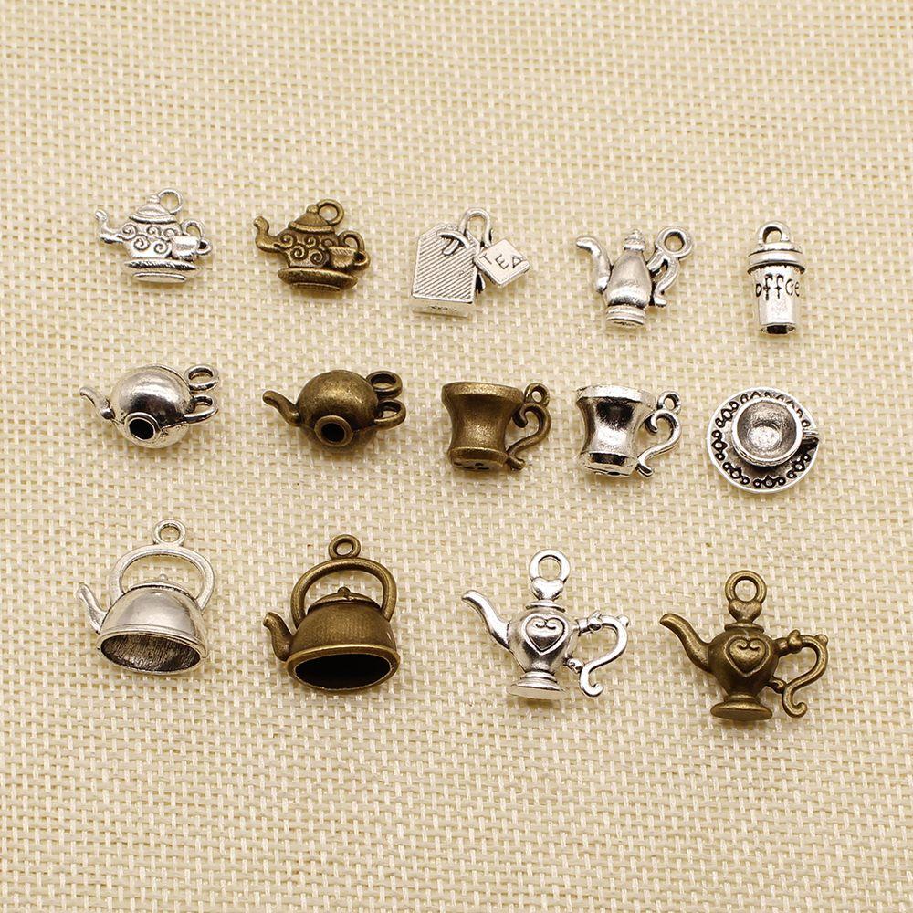 50 Pieces Jewelry Making Supplies Kitchenware Pot Teapot HJ096