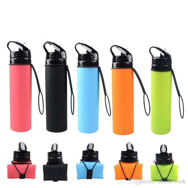 20 oz silicone Pliable bouteille Sports de plein air Camping eau Voyage de l'eau des bouteilles avec couvercle gourde pliable en silicone