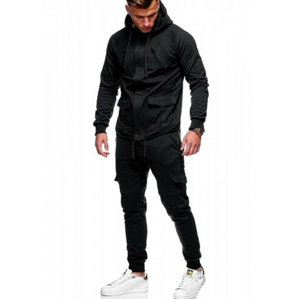 Mens Sweatsansichten Joggen Hoodies Kapuzenmäntel Jacken Solide Slim Fit Anzüge Trainingsanzüge Hose Sweatpants Joggers Männliche Sportwears
