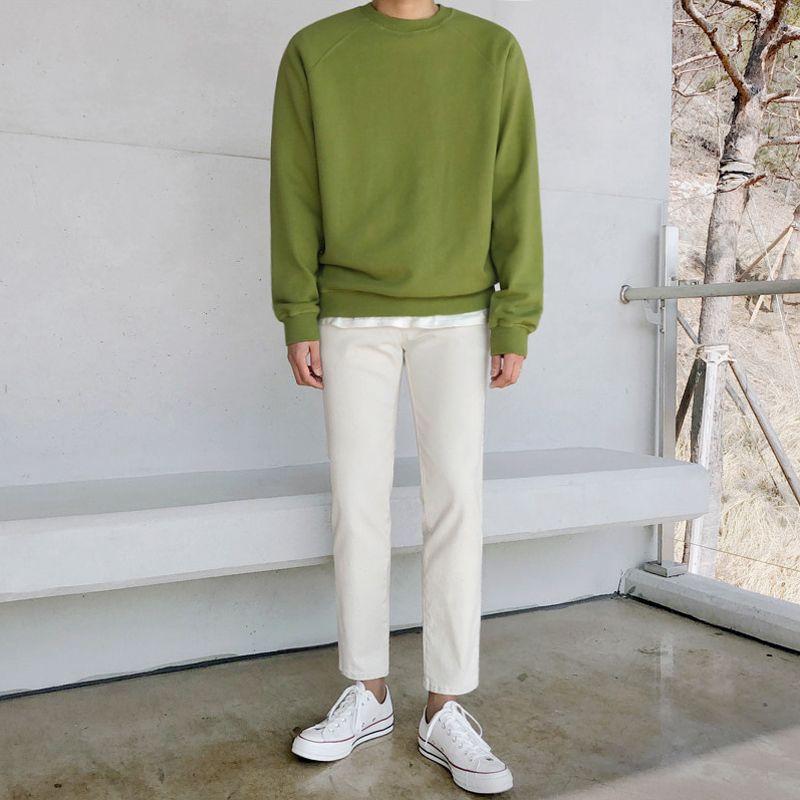 Moda color sólido del O-cuello de Corea del algodón con capucha de los hombres del suéter sudaderas con capucha de los hombres Streetwear salvaje suelta la camiseta para hombre M-2XL
