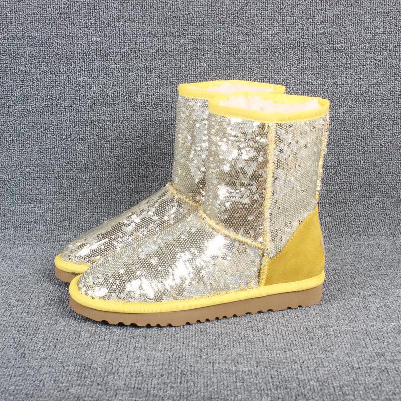 Los zapatos del diseñador-g Paillette brillante de las muchachas de las lentejuelas mujeres nieve del invierno botas con lentejuelas de color para muchachas de la manera