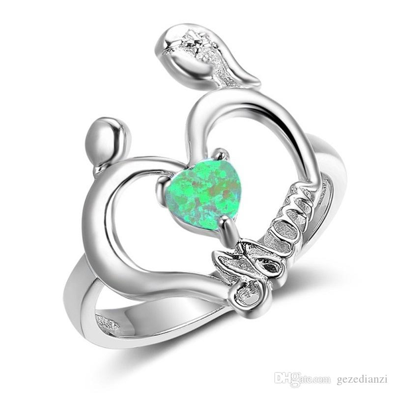 By free Shipping Mom's Ring Custom 925 Silver Rings For Mother''s Heart-shaped Fire Opal Jewelry For Mom Charms Gift