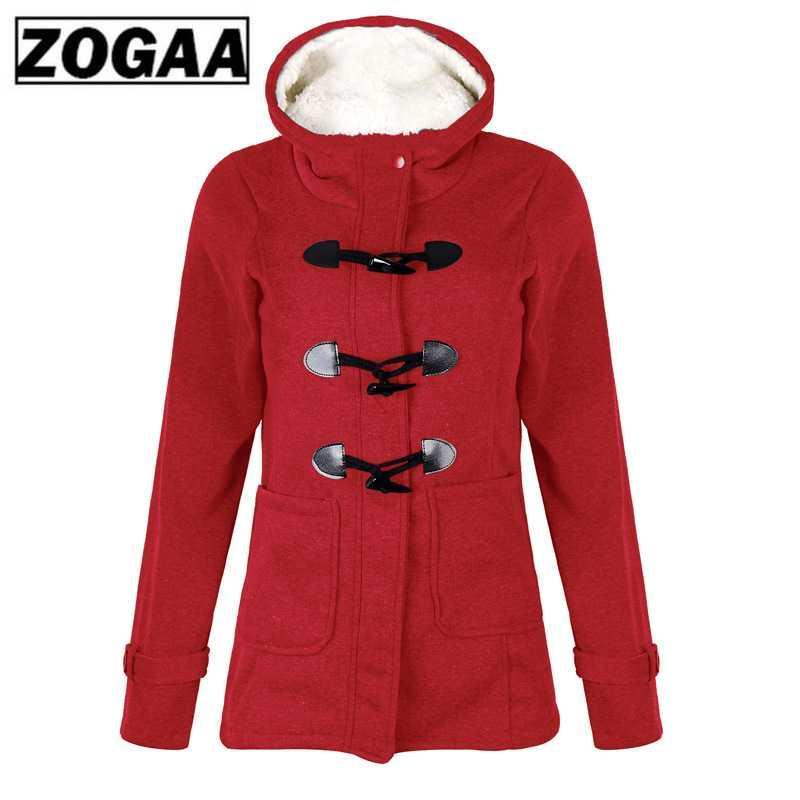 ZOGAA Inverno Parka cappotto con cappuccio caldo Montgomery tasto di corno delle donne Fronte Outwear femminile solido cappotto più il formato S-5XL
