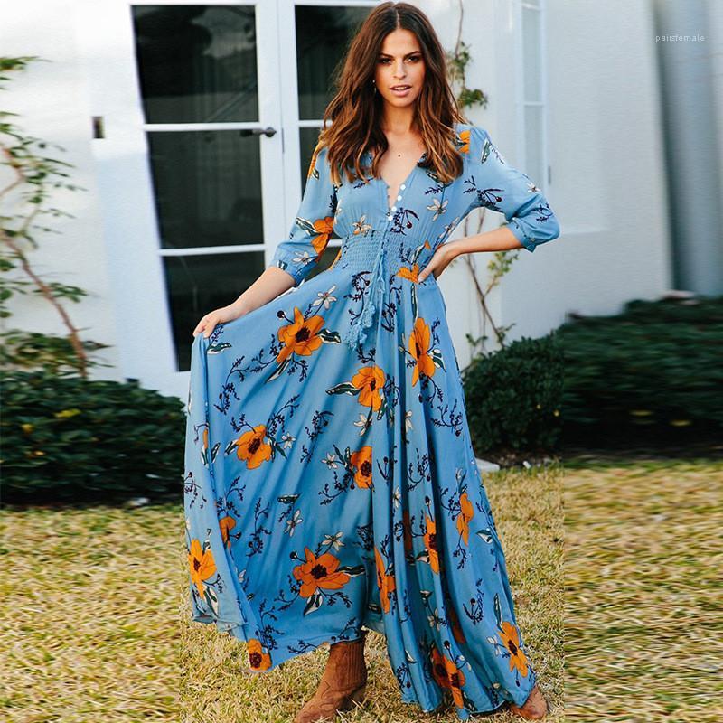 Kontrast-Farben-Kleider der Frauen Designer-böhmisches Kleid Fashion V-Ausschnitt Dreiviertel Hülsen-Knopf-Kleid-Blumendruck weiblich