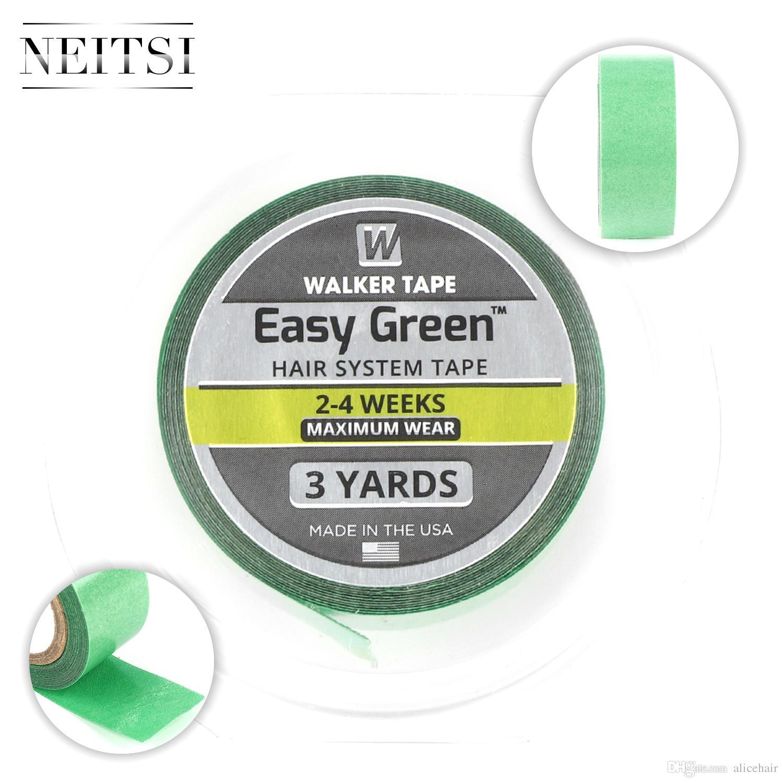 Neitsi 1 Roll Walker Tape Easy Green Adhesive Cinta de doble cara para tupés, postizos, sistemas de reemplazo de cabello