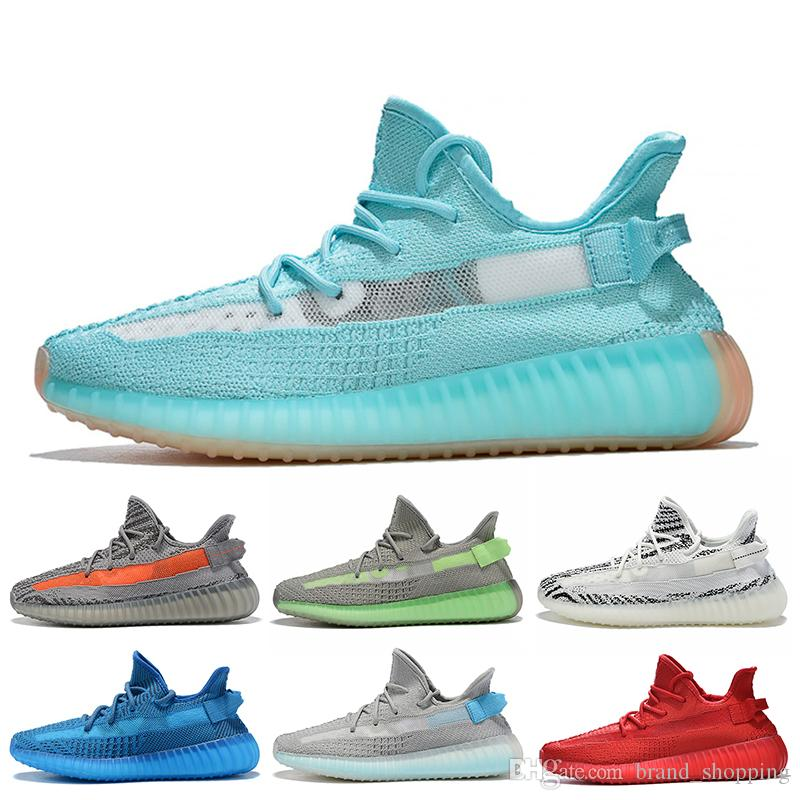 New Smurfs Kanye Running Shoes for men women Yecheil Static Reflective Black Clay Gid Glow Cloud White Mens Trainers Sneakers 36-48