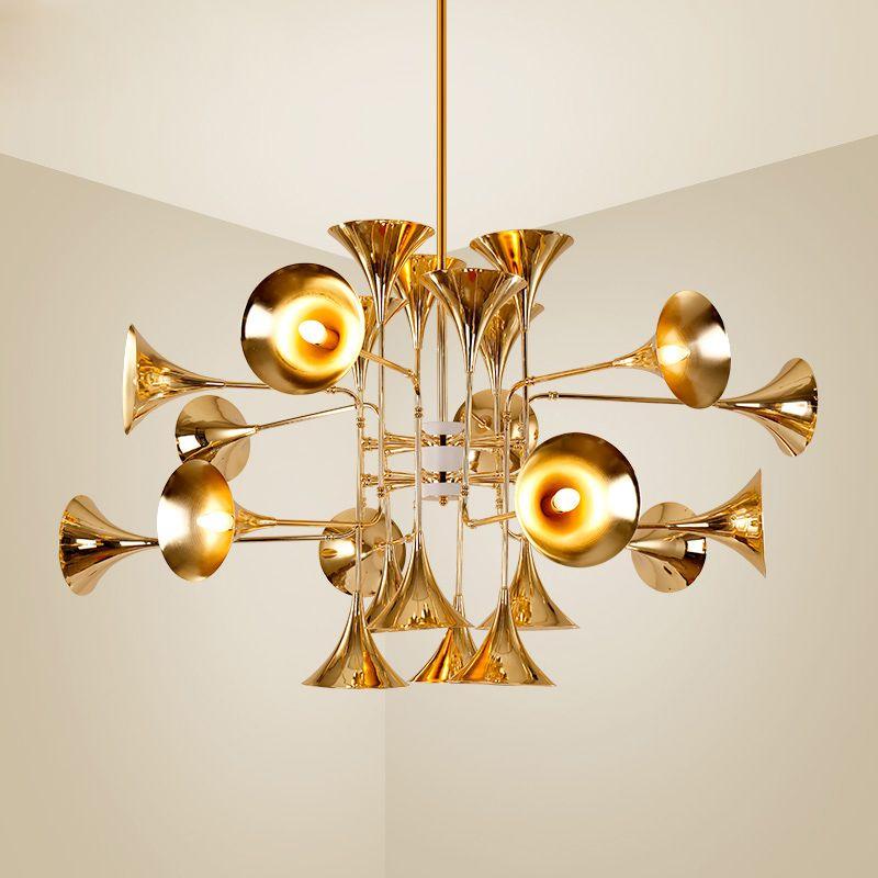 ديلايتفول الحديث بوتي الأنابيب الذهب البوق مصابيح قلادة خمر ريترو لونج هورن ضوء قلادة لغرفة المعيشة